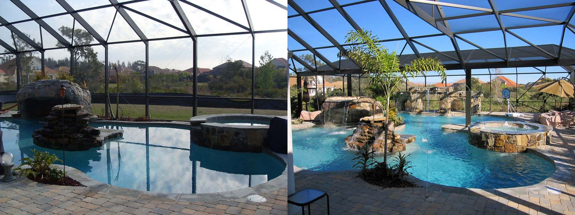 Custom Pool Remodel Before and After by Waterscapes Inc.